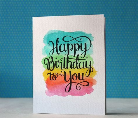 handmade birthday card from Mama Elephant ... bright watercolor wash with big and bold sentiment stamped in black on top ...