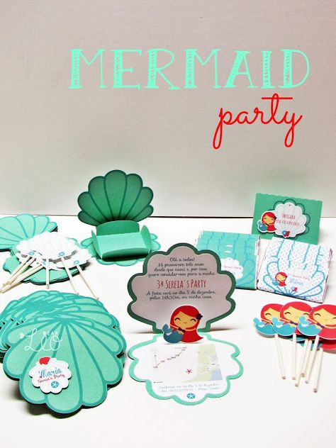 Mermaid party - convites, wrappers, toppers, chocolates, marcadores