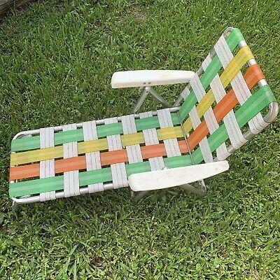 Vintage Aluminum Kids Size Webbed Folding Chaise Lounge Lawn Chair Green Orange Ebay Green Chair Lawn Chairs Patio Chaise Lounge Cushions