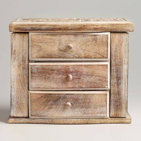 Whitewashed Ersilia Double Jewelry Box World Market White Wash Jewellery Storage Beautiful Furniture