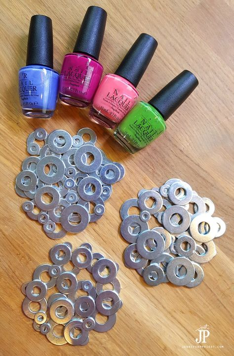 How to Make Metal Washer Coasters - Painted with Nail Polish! - How to Make Metal Washer Coasters – Painted with Nail Polish! Old Nail Polish, Nail Polish Painting, Nail Polish Jewelry, Nail Polish Crafts, Nail Polish Storage, Nagellack Design, Nagellack Trends, Diy Crafts To Sell, Diy Crafts For Kids