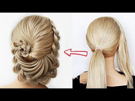 Super Easy Flower Updo Super Simple Perfect For Long Medium Shoulder Length Hair Youtube Shoulder Length Hair Hair Styles Long Hair Styles