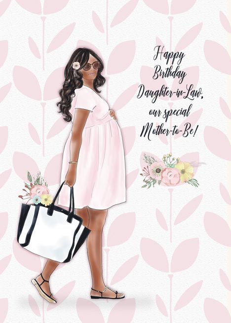 Happy Birthday Daughter In Law Mother To Be African American Woman