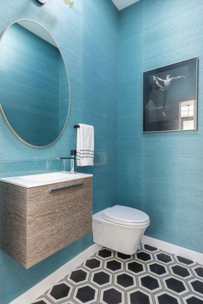 Mid Century Modern California Home Tour Wood Paneling And Tiling Turquoise Bathroom Diy Bathroom Remodel Bathroom Wallpaper