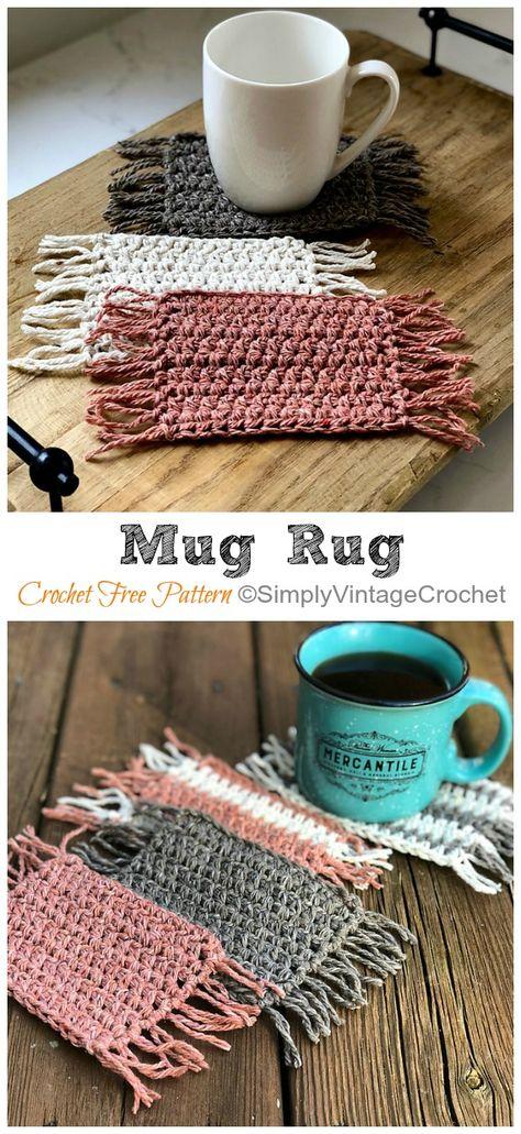Mug Rug Crochet Free Pattern Easy Crochet Coaster Free Patterns Blog Crochet, Crochet Gratis, Crochet Home, Knit Crochet, Crochet Ideas, Knitted Rug, Diy Crochet Patterns, Mug Rug Patterns, Easy Knitting Patterns