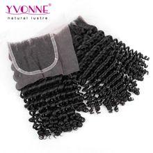 Virgin Braziliaanse Kinky Krullend Sluiting, 100% Menselijk Haar Vetersluiting 4x4, Aliexpress Yvonne Haarproducten, natuurlijke Kleur 1B(China (Mainland))