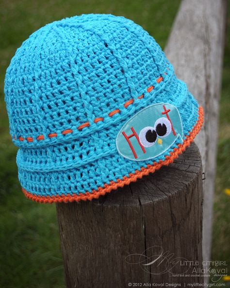 Give a Hoot. Crocheted Hat Free pattern for Kids and Adult