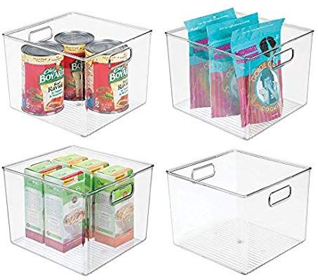 Mdesign Plastic Food Storage Container Bin With Handles For Kitchen Pantry Cabi Food Storage Organization Food Storage Containers Plastic Container Storage