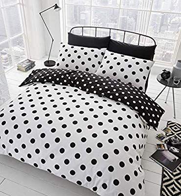 Catherine Lansfield Polka Dot Easy Care Single Duvet Set Black White Amazon Co Uk Kitc White Duvet Covers Black Bedroom Furniture Decor King Duvet Cover Sets