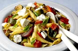 Roasted ratatouille pasta A healthy pasta dish with lots of roasted veg like aubergines and peppers and topped with tasty goat's cheese.