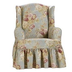 Wondrous Ballad Bouquet Chair Slipcover Robins Egg Blue Sure Fit In Ibusinesslaw Wood Chair Design Ideas Ibusinesslaworg