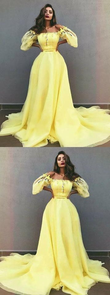 Charming A-Line Off-the-Shoulder Yellow Tulle Prom Dress with Appliques,  #Aline #Appliques #Charming #dress #longpromdressvintage #Offtheshoulder #prom #Tulle #Yellow