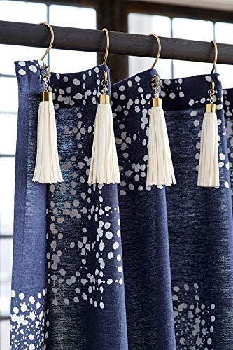 Amazon Com White Tassel Gold Shower Curtain Hooks Stainless