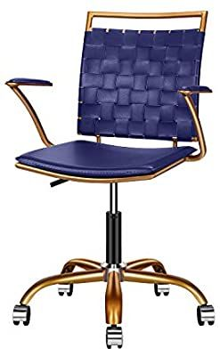 Amazon Com Luxmod Blue And Gold Office Chair Mid Back Ergonomic Swivel Computer Desk Chair With Arms Home In 2020 Gold Office Chair Blue Leather Chair Office Chair