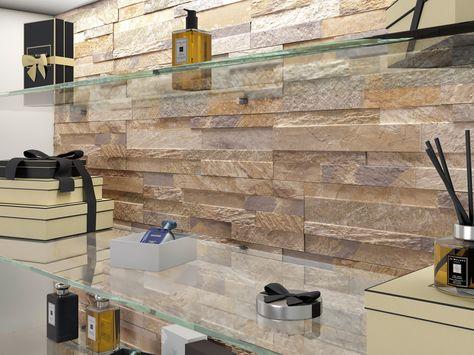 Rivestimento a parete in gres effetto pietra Cubics Ceramica - wandpaneele f r k che