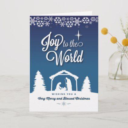 Joy To The World With Nativity Scene And Christmas Holiday Card Zazzle Com Holiday Cards Holiday Design Card Christmas Holiday Cards