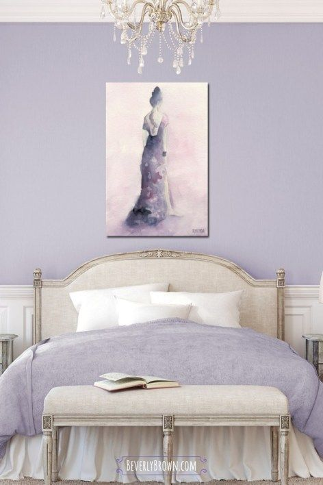 Pink And Purple Evening Dress Fashion Art Prints Beverly Brown Artist Lavender Bedroom Decor Feminine Bedroom Purple Bedroom Decor,Farmhouse French Country Master Bedroom