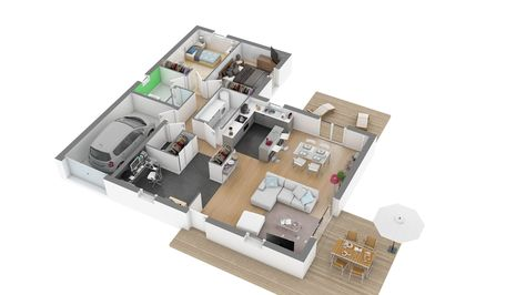 Pin by Anna Peña on homes with floor plans and interior photos - plan de maison rectangulaire plain pied