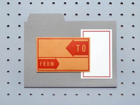 Vintage parcel label inspired notecards and envelopes.