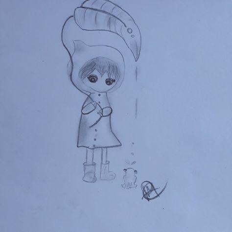 Dessin Crayon De Bois Petite Fille Sous Un Parapluie Avec