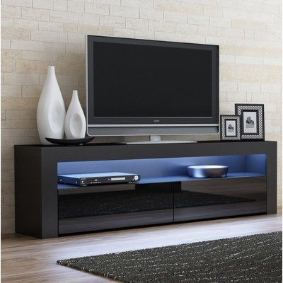 Orren Ellis Ranallo Tv Stand Color Black Black Living Room Tv Stand Tv Stand Decor Small Apartment Bedrooms