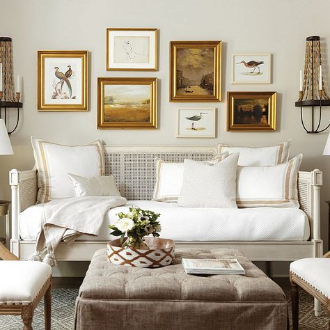 Find daybed ideas and style tips for one of the most versatile pieces in your home. From the office, living room, or bedroom, find daybed ideas perfect for your space and style from Ballard Designs. Daybed In Living Room, Living Room Furniture, Living Room Decor, Wood Daybed, Daybed Couch, Chandelier In Living Room, Shabby Chic Homes, Guest Bedrooms, Home Decor Bedroom