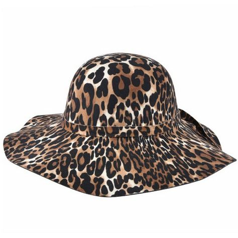 c7451c61a2e50 Black Leopard Floppy Wide Brim Hat ( 23) ❤ liked on Polyvore featuring  accessories