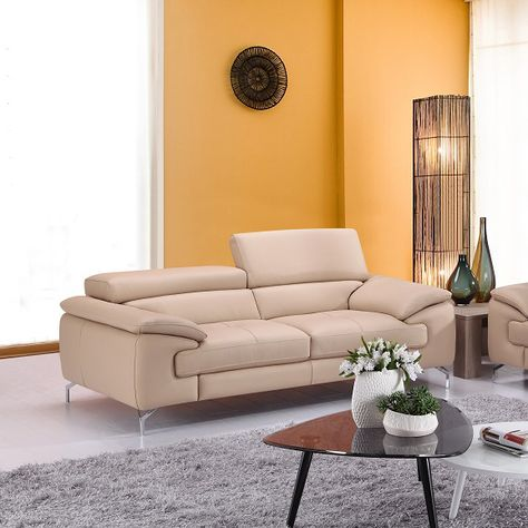 A973 Modern Premium Leather Sofa In Peanut By J M With Images Italian Leather Sofa Leather Sofa Luxury Sofa Modern