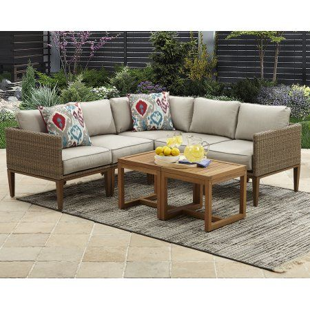 Better Homes And Gardens Davenport 7 Piece Outdoor Sectional Set With Beige Cushions Walmart Com Best Outdoor Furniture Outdoor Sectional Sofa Outdoor Furniture