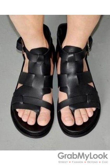 Mens Roman Leather Sandals High Top Gladiator Straps qULGVSzMp
