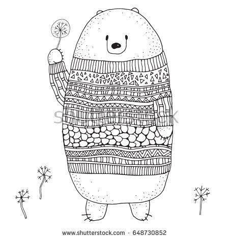 Cute Bear In A Sweater With A Dandelion Coloring Book Page For