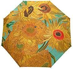 3bb7de300ae4 JSTEL Oil Painting Sunflowers Windproof UV Umbrellas Auto Open Close ...