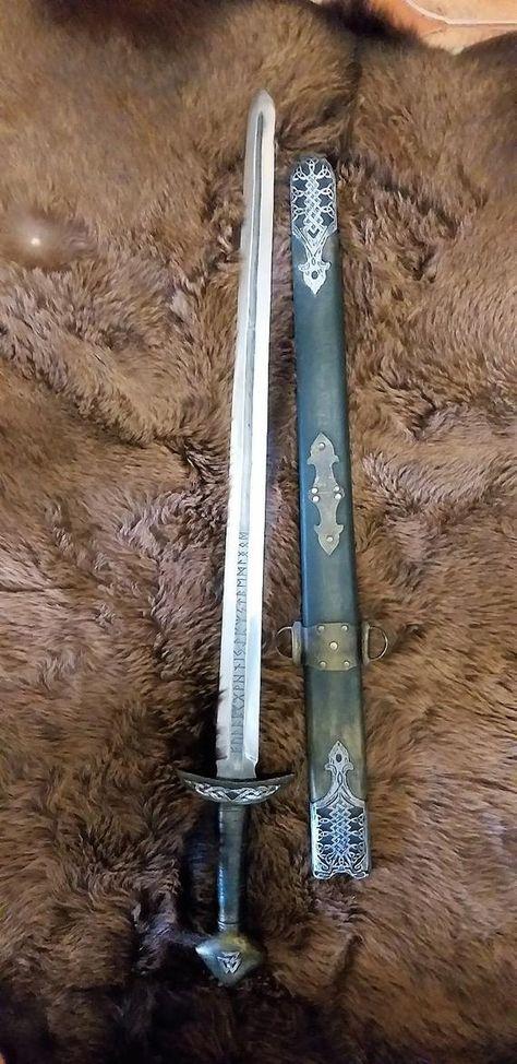 Norse Tattoo, Viking Tattoos, Swords And Daggers, Knives And Swords, Tactical Swords, Shoulder Armor Tattoo, Sword Tattoo, Fantasy Weapons, Fantasy Katana