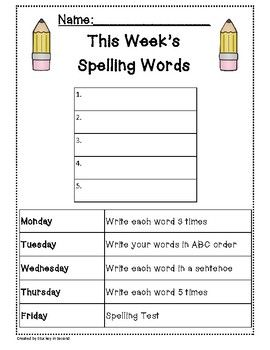 Spelling Packet/Templates for 5 Words (Homework/Center