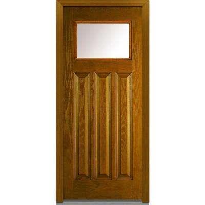 36 In X 80 In Right Hand Inswing 1 4 Lite Clear 3 Panel Craftsman Stained Fiberglass Oak Prehung Front Door Exterior Doors Front Door Single Doors