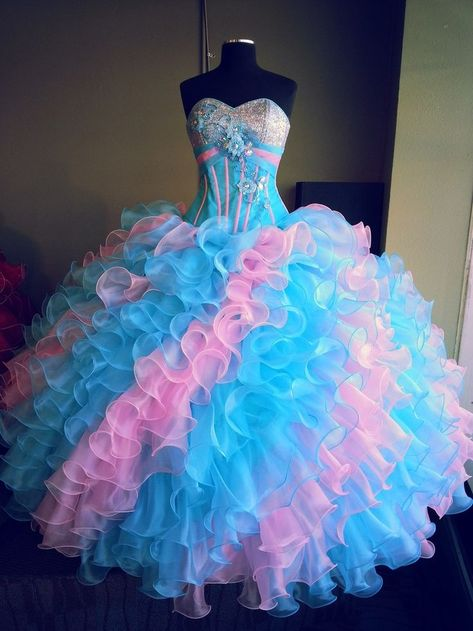 fancyflyingfox.com Offers High Quality Colorful Sweetheart Ball Gown Full Length Blue And Pink Rainbow Quinceanera Dress ,Priced At Only US$295.00 (Free Shipping)