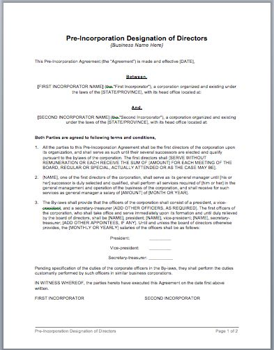 Pre-Incorporation of Directors Designations Agreement Template - articles of incorporation template free