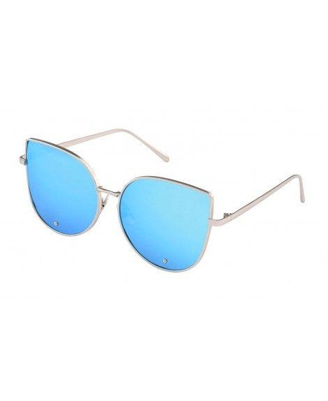 Cat Eye Mirrored Flat Lenses Metal Frame Rivet Cute Mirrored Women Sunglasses Silver Blue Sunglasses Sunglasses Women Lenses