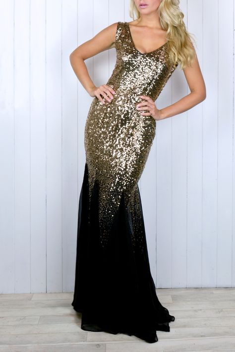 backless Black and Gold Sequin Dress...