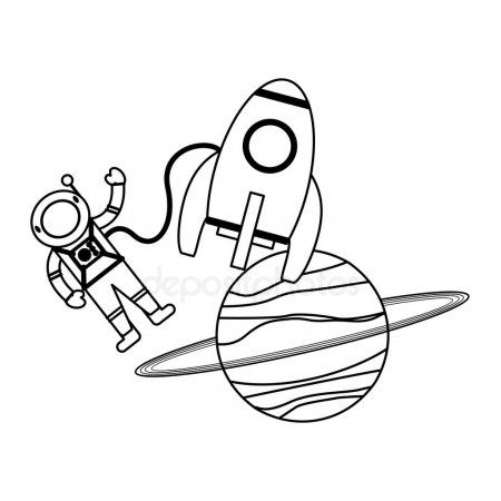 Astronaut And Spaceship Rocket With Planet In Black And White Stock Vec Ad Rocket Planet Astrona Cartoons Vector Vector Illustration Black And White