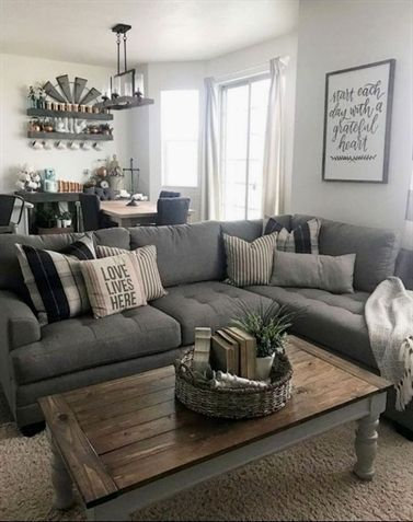 43 Outstanding Sectional Sofa Decoration Ideas With Lamps Furniture S Modern Farmhouse Living Room Decor Farm House Living Room Farmhouse Decor Living Room Living room decor with sectional
