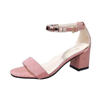 Fashion Flock Medium Heel Sandals Women Casual Buckle Strap Heels Open Toe Sandals Sandals Heels