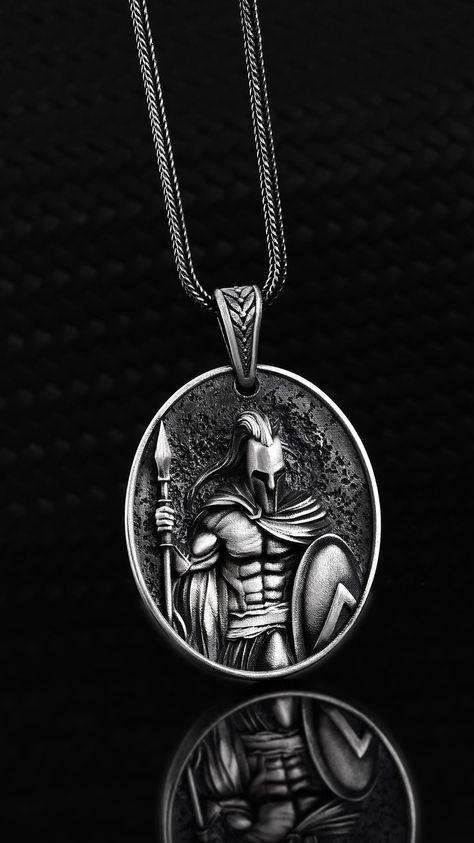 Silver Spartan Men Necklace Warrior Silver Pendant Men Spartan Jewelry Leonidas Man Accessory Oxidized Me Necklace Men Gift Pendant Mens Silver Necklace, Men Necklace, Silver Jewelry, Pendant Necklace, Gothic Jewelry, Luxury Jewelry, Pendant Jewelry, Silver Earrings, Jewelry Necklaces