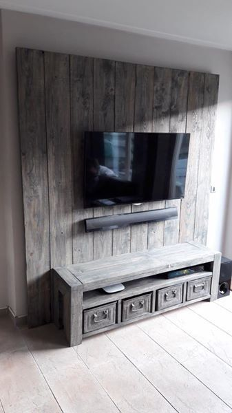 Tv Meubel Wand.Tv Meubel Wandmeubel Van Steigerhout Meubels Tv Muur Decor