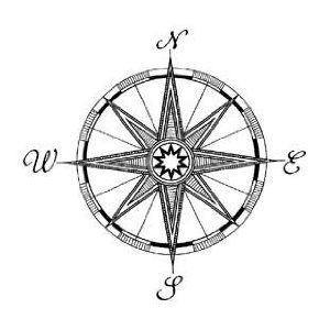 compass behind my ear, upside so north points down & the needle points north towards my heart