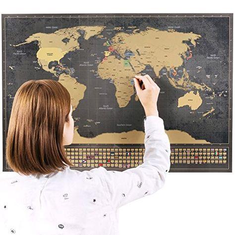 Personalisierte Indigo Blau Scratch-Off Weltkarte Poster Reisen