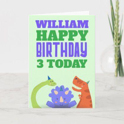 Cute Dinosaurs Kids Age Name Green Birthday Card Zazzle Com In 2020 Cute Dinosaur Birthday Cards Dinosaur Kids