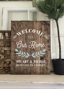 Welcome To Our Home 14 19 Personalized Wood Signs Old Wood Crafts Custom Wood Signs