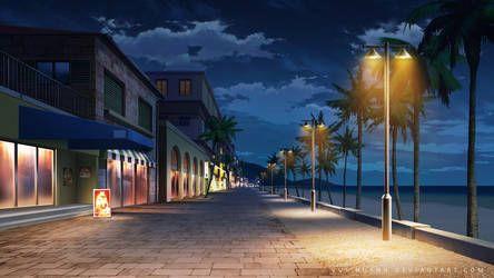 Shopping Street Night By Vui Huynh Com Imagens Cenario Anime