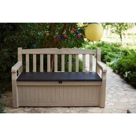 Patio Deck Box Storage Bench Durable 32 8 H 70 Gal Beige Brown Patio Deck Box Patio Deck Diy Deck